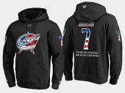 Wholesale Cheap Blue Jackets #7 Jack Johnson NHL Banner Wave Usa Flag Black Hoodie