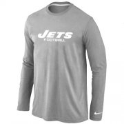 Wholesale Cheap Nike New York Jets Authentic Font Long Sleeve T-Shirt Grey