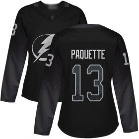 Cheap Adidas Lightning #13 Cedric Paquette Black Alternate Authentic Women\'s Stitched NHL Jersey