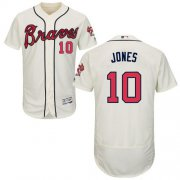 Wholesale Cheap Braves #10 Chipper Jones Cream Flexbase Authentic Collection Stitched MLB Jersey
