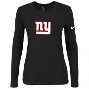 Wholesale Cheap Women's Nike New York Giants Of The City Long Sleeve Tri-Blend NFL T-Shirt Black