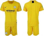Wholesale Cheap Manchester City Blank Yellow Goalkeeper Soccer Club Jersey