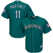 Wholesale Cheap Seattle Mariners #11 Edgar Martinez Majestic 2019 Hall of Fame Induction Alternate Cool Base Player Jersey Northwest Green