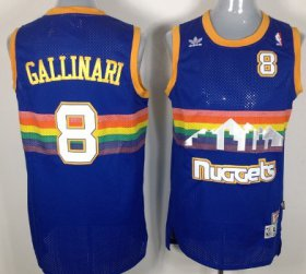 Wholesale Cheap Denver Nuggets #8 Danilo Gallinari Blue Rainbow Swingman Throwback Jersey