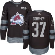 Wholesale Cheap Adidas Avalanche #37 J.T. Compher Black 1917-2017 100th Anniversary Stitched NHL Jersey