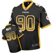 Wholesale Cheap Nike Steelers #90 T. J. Watt Black Team Color Youth Stitched NFL Elite Drift Fashion Jersey