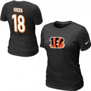 Wholesale Cheap Women's Nike Cincinnati Bengals #18 A.J. Green Name & Number T-Shirt Black