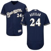 Wholesale Cheap Brewers #24 Jesus Aguilar Navy Blue Flexbase Authentic Collection Stitched MLB Jersey