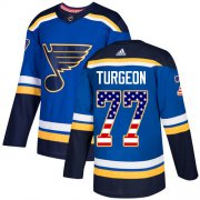 Wholesale Cheap Adidas Blues #77 Pierre Turgeon Blue Home Authentic USA Flag Stitched NHL Jersey
