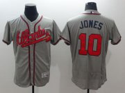 Wholesale Cheap Braves #10 Chipper Jones Grey Flexbase Authentic Collection Stitched MLB Jersey