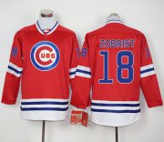 Wholesale Cheap Cubs #18 Ben Zobrist Red Long Sleeve Stitched MLB Jersey