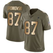 Wholesale Cheap Nike Patriots #87 Rob Gronkowski Olive/Gold Youth Stitched NFL Limited 2017 Salute to Service Jersey