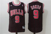 Wholesale Cheap Men's Chicago Bulls #9 Rajon Rondo Black Pinstripe Adidas Revolution 30 Swingman Stitched NBA Jersey