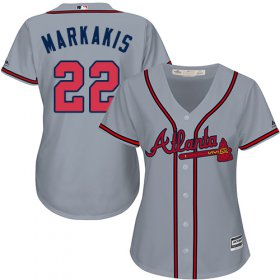 Wholesale Cheap Braves #22 Nick Markakis Grey Road Women\'s Stitched MLB Jersey