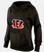 Wholesale Cheap Women's Cincinnati Bengals Logo Pullover Hoodie Black-1