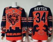 Wholesale Cheap Nike Bears #34 Walter Payton Orange/Navy Blue Men's Ugly Sweater