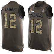 Wholesale Cheap Nike Broncos #12 Brendan Langley Green Men's Stitched NFL Limited Salute To Service Tank Top Jersey