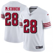 Wholesale Cheap Nike 49ers #28 Jerick McKinnon White Rush Youth Stitched NFL Vapor Untouchable Limited Jersey
