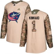 Wholesale Cheap Adidas Blue Jackets #1 Keith Kinkaid Camo Authentic 2017 Veterans Day Stitched NHL Jersey