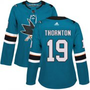 Wholesale Cheap Adidas Sharks #19 Joe Thornton Teal Home Authentic Women's Stitched NHL Jersey