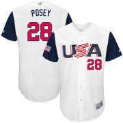 Wholesale Cheap Team USA #28 Buster Posey White 2017 World MLB Classic Authentic Stitched Youth MLB Jersey