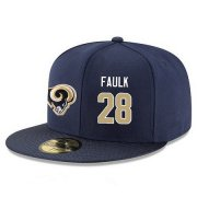 Wholesale Cheap Los Angeles Rams #28 Marshall Faulk Snapback Cap NFL Player Navy Blue with Gold Number Stitched Hat