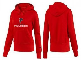 Wholesale Cheap Women\'s Atlanta Falcons Authentic Logo Pullover Hoodie Red