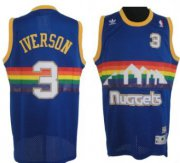 Wholesale Cheap Denver Nuggets #3 Allen Iverson Blue Rainbow Swingman Throwback Jersey