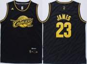 Wholesale Cheap Cleveland Cavaliers #23 LeBron James Revolution 30 Swingman 2014 Black With Gold Jersey