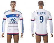 Wholesale Cheap Lyon #9 Beauvue Home Long Sleeves Soccer Club Jersey