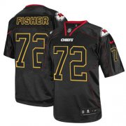 Wholesale Cheap Nike Chiefs #72 Eric Fisher Lights Out Black Men's Stitched NFL Elite Jersey