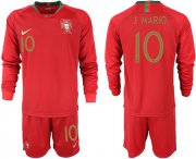 Wholesale Cheap Portugal #10 J.Mario Home Long Sleeves Soccer Country Jersey