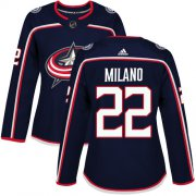 Wholesale Cheap Adidas Blue Jackets #22 Sonny Milano Navy Blue Home Authentic Women's Stitched NHL Jersey