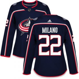 Wholesale Cheap Adidas Blue Jackets #22 Sonny Milano Navy Blue Home Authentic Women\'s Stitched NHL Jersey