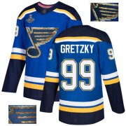 Wholesale Cheap Adidas Blues #99 Wayne Gretzky Blue Home Authentic Fashion Gold Stanley Cup Champions Stitched NHL Jersey