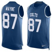 Wholesale Cheap Nike Colts #87 Reggie Wayne Royal Blue Team Color Men's Stitched NFL Limited Tank Top Jersey