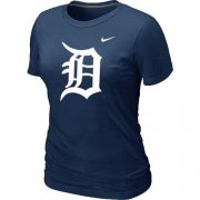 Wholesale Cheap Women's Detroit Tigers Heathered Nike Dark Blue Blended T-Shirt