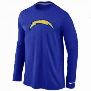Wholesale Cheap Nike Los Angeles Chargers Logo Long Sleeve T-Shirt Blue