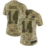 Wholesale Cheap Nike Bills #14 Stefon Diggs Camo Women's Stitched NFL Limited 2018 Salute To Service Jersey