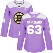Wholesale Cheap Adidas Bruins #63 Brad Marchand Purple Authentic Fights Cancer Women's Stitched NHL Jersey