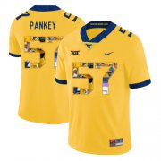Wholesale Cheap West Virginia Mountaineers 57 Adam Pankey Yellow Fashion College Football Jersey