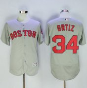 Wholesale Cheap Red Sox #34 David Ortiz Grey Flexbase Authentic Collection Name On Back Stitched MLB Jersey