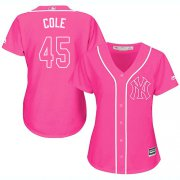 Wholesale Cheap Yankees #45 Gerrit Cole Pink Fashion Women's Stitched MLB Jersey