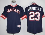 Wholesale Cheap Indians #23 Michael Brantley Navy Blue 1976 Turn Back The Clock Stitched MLB Jersey