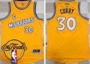 Wholesale Cheap Men's Warriors #30 Stephen Curry Gold New Throwback 2017 The Finals Patch Stitched NBA Jersey
