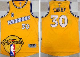 Wholesale Cheap Men\'s Warriors #30 Stephen Curry Gold New Throwback 2017 The Finals Patch Stitched NBA Jersey