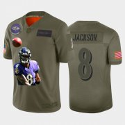 Wholesale Cheap Nike Baltimore Ravens #8 Lamar Jackson Olive Player Name Logo Vapor Untouchable Limited Jersey