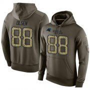 Wholesale Cheap NFL Men's Nike Carolina Panthers #88 Greg Olsen Stitched Green Olive Salute To Service KO Performance Hoodie