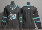 Wholesale Cheap Adidas Sharks Blank Black Alternate Authentic Women's Stitched NHL Jersey