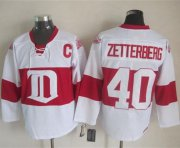 Wholesale Cheap Red Wings #40 Henrik Zetterberg White Winter Classic CCM Throwback Stitched NHL Jersey